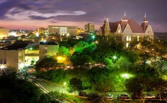 Texas State University campus at night