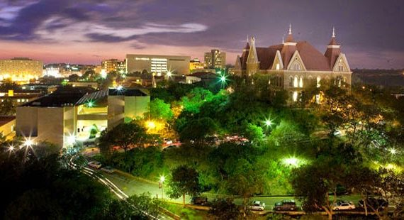 Texas State University campus at night